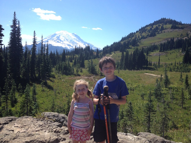 Kids with Mt. Rainier