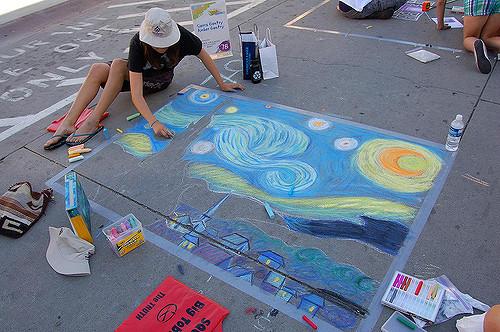 van gogh chalk art
