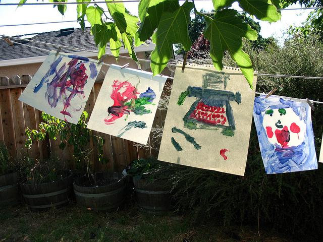 art on clothesline