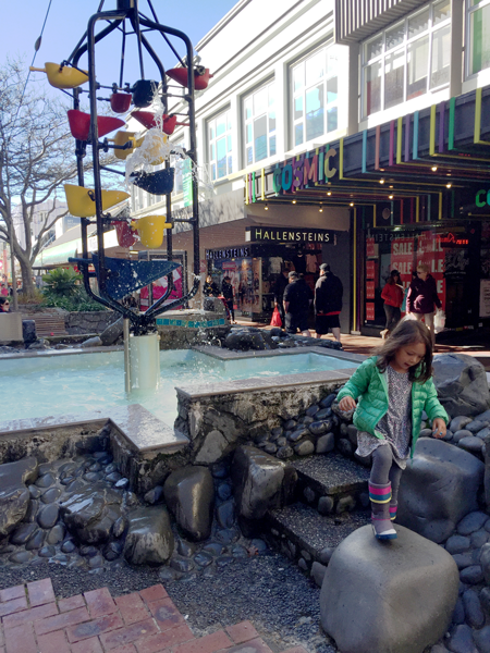 Playground and Kid-Friendly Water Fountain on Cuba Street in Wellington, New Zealand