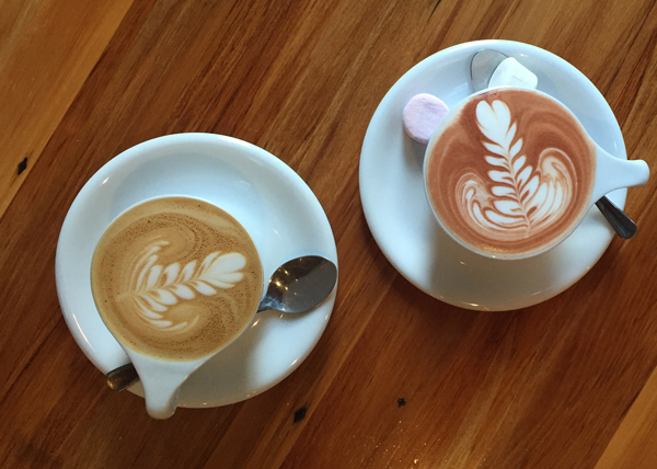Fancy Hot Chocolate with Marshmallows and a Flat White at Red Rabbit