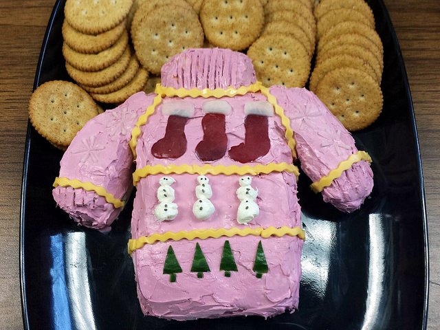 ugly sweater cheese ball