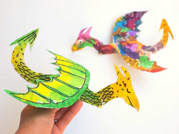 paper-plate-flying-dragon-pink-stripey-socks