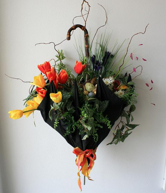 umbrella vase of flowers