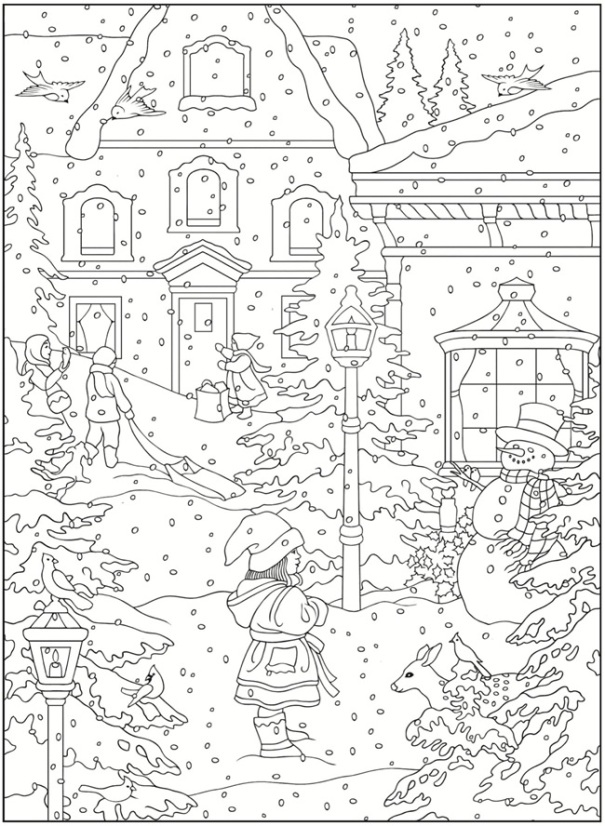 Snow Theme Coloring Pages and Printable Activities | 827x605