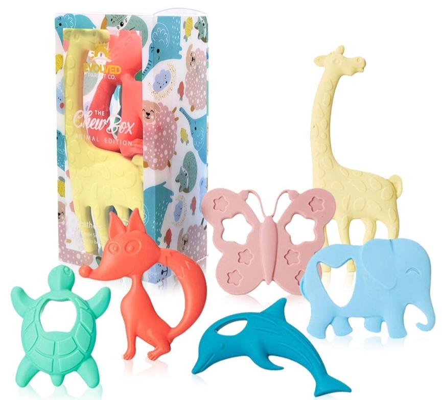 Wooden Safe Natural Cute Animal Shape Ring Baby Teether Teething Shower Toy JP