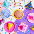 birthday hats, sprinkles, cake
