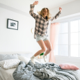 bed, mom jumping, jumping on bed, laundry