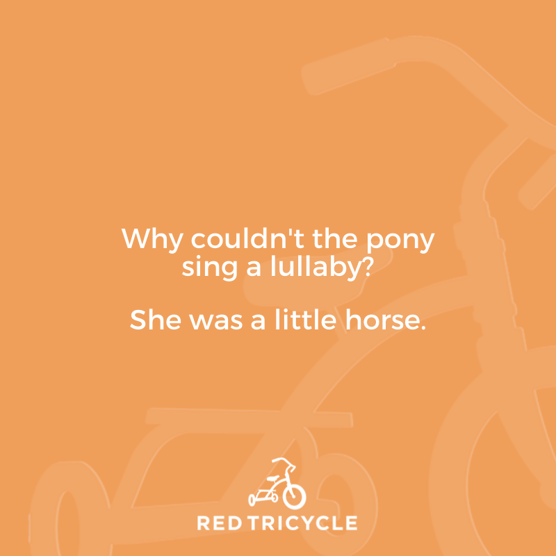 Why couldn't the pony sing a lullaby? She was a little horse. funny jokes for kids Red Tricycle