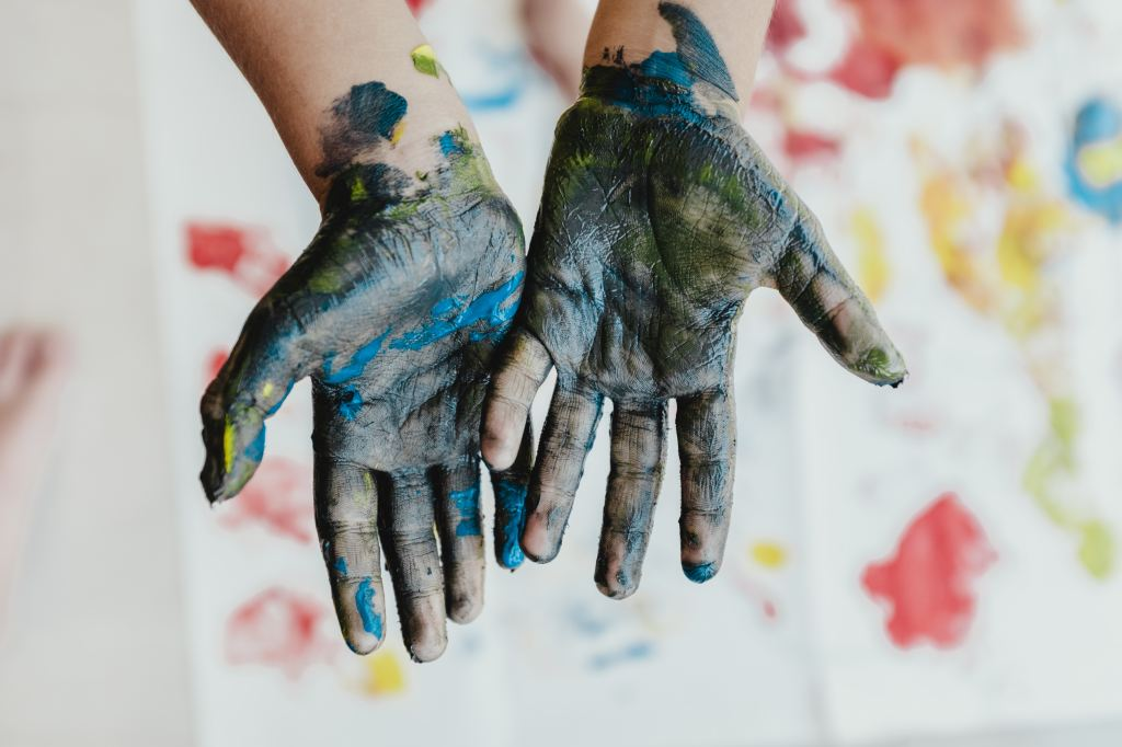 Paint on hands arts and crafts painting