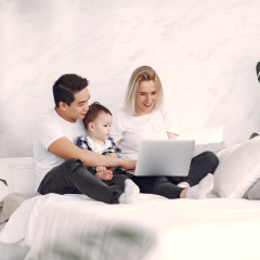 Family on Laptop