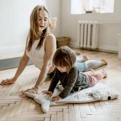 mom and daughter yoga, kid yoga, toddler exercise