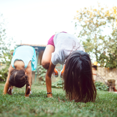 kids outdoor exercise at home siblings backyard active yoga exercise, virtual camp, gymnastics
