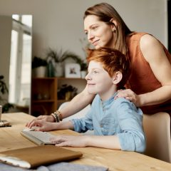online classes, virtual learning, education, mother, mom, son, learning, computer, screen