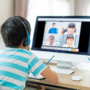 eLearning, computer, headphones, zoom call, computer, covid, distance learning, education