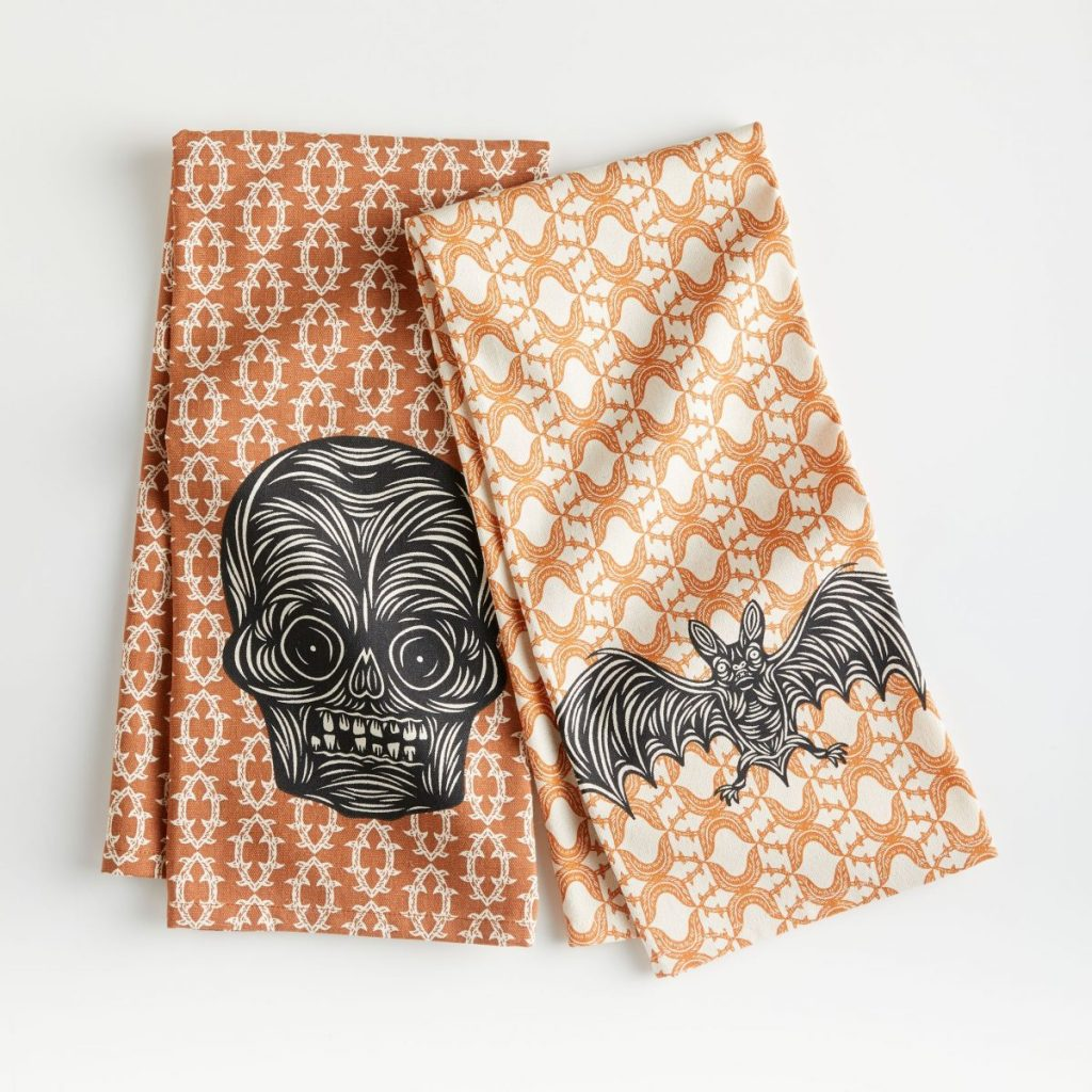 PATCH NYC Batty Bat and Scary Skull Dish Towels, Set of 2