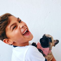 boy with puppy