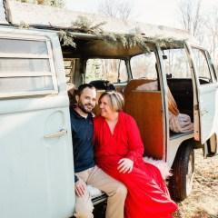woman and man in mini van