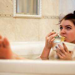 woman bath mom alone
