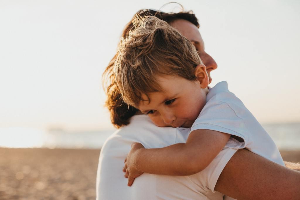 mom son hug